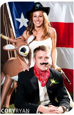 Best wedding photo booth props for Texans? Inflatable deer, sheriff's hat, mustaches, and handkerchief!
