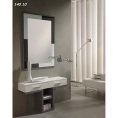 """Joli meuble d'entrée SALOU 04 au design original en forme de """"T""""."""