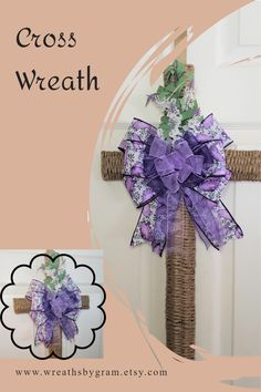 """24""""L x 12""""W cross shaped wreath; cross wreath; cross wreaths for front door; memorial gifts; religious aesthetic; religious gifts for women; remembrance gifts; sympathy gifts; condolences gift ideas; condolences gifts for a friend; bereavement gift ideas; christian wreath; cross decorations; everyday wreath; summer wreath; spring wreath; church decor ideas; butterfly ribbon; mothers day gift ideas; cemetery decorations; cemetery aesthetic; cemetery cross; funeral cross with flowers; purple…"""