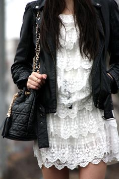 Love the juxtaposition of the very feminine lace/crochet dress and the edgy leather jacket and bag White Fashion, Love Fashion, Womens Fashion, Nu Goth, Indie, Grunge, Hipster, Kawaii, Punk