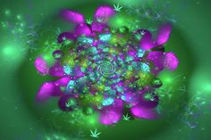 Marijuana Art Print for sale - beautiful jewel colored fractal flower with cannabis symbols, stunning jewel colors (green, purple, orchid, aqua). Available as poster, framed print, metal, acrylic or canvas print. Art for your Home Decor and Interior Design by Matthias Hauser.