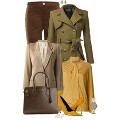 A fashion look from November 2014 featuring v neck blouse, green coat and wool blazer. Browse and shop related looks.