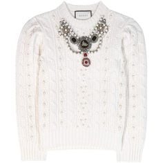 Gucci Embellished Wool and Cashmere Sweater (€2.950) ❤ liked on Polyvore featuring tops, sweaters, gucci, white, white top, white cashmere sweater, woolen sweater, woolen tops and embellished top