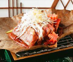 Miso houba yaki (wagyu beef grilled on a magnolia leaf).