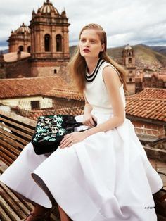 "The Terrier and Lobster: ""Accidental Tourist"": Nathalia Oliveira in Cuzco, Peru by Nicole Bentley for Marie Claire Australia March 2014"