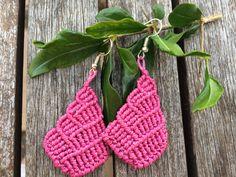 Dark pink handmade macrame drop earrings by Vicrame on Etsy
