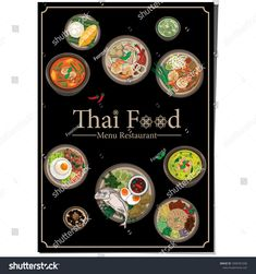 Find Menu Thai Food Design Template Graphic stock images in HD and millions of other royalty-free stock photos, illustrations and vectors in the Shutterstock collection. Thousands of new, high-quality pictures added every day. Thai Restaurant Menu, Thai Food Menu, Food Graphic Design, Food Menu Design, Small Restaurant Design, Thai Street Food, Small Restaurants, Logo Food, Thai Recipes
