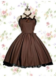 Classic Cotton Spaghetti Straps Empire Knee-length Lolita Dress With Ruffles