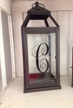 Large Monogram Lantern Glass hurricane candle holder CUSTOM on Etsy, $40.00