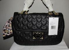 15-NWT - Betsey Johnson Black Sweetheart Quilted Black Shoulder Bag. Starting at $25