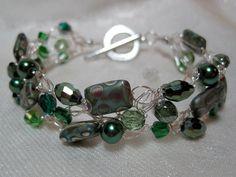 Peacock Green Beaded Bracelet, handmade crocheted wire bead jewelry