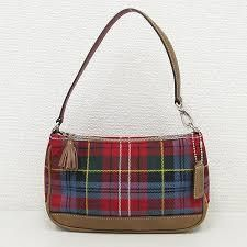 COACH 8935 TARTAN PLAID Leather Baguette Wristlet Purse Wallet Clutch RED MULTI BROWN