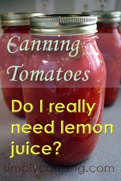Canning Tomatoes, the safest methods include lemon juice. I am all about safe canning. Canning Tips, Home Canning, Canning Tomato Juice, Tomato Canning Recipes, Conservation, Canning Vegetables, Canning Potatoes, Veggies, Canned Spaghetti Sauce