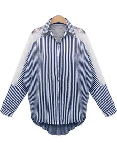 To find out about the Blue Lapel Contrast Lace Striped Blouse at SHEIN, part of our latest Blouses ready to shop online today! Shirt Collar Styles, Blouse Styles, Plus Size Blouses, Plus Size Tops, Diy Clothes, Clothes For Women, Bat Sleeve, Shirt Blouses, Shirts