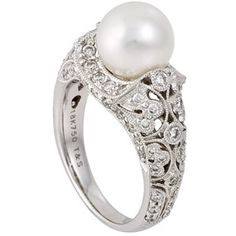 South Sea Pearl and Diamond Ring, Pearl and Diamond Rings, Tara Pearl Ring