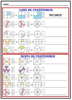 Math Fractions Worksheets, 4th Grade Math Worksheets, Math Activities, Math Exercises, Math Charts, Math School, Math Formulas, Second Grade Math, Basic Math