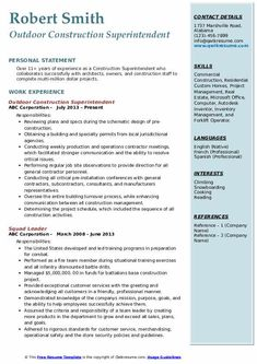 View Construction Superintendent Resume Pics Resume Pdf, Sample Resume Templates, Resume Form, Hr Resume, Professional Resume Samples, Job Resume Samples, Human Resources Resume, Sales Resume Examples, Internship Resume