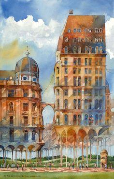 非現実空間。ありえない構造を持つ不思議な建造物たちを描いた水彩画 | ARTIST DATABASE