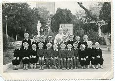 Old photo 1962 group of boys children's hospital sanatorium striped pajamas city square Soviet Union ORIGINAL vintage photo LARGE by PhotoMemoriesLane on Etsy