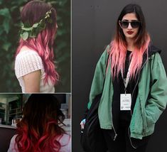 black on top, and pink on end hair styles for spring or summer hair looks  the corlorful hair colors to highlight your life