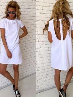 Милое белое платье с открытой спинкой, фото 1