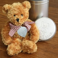 personalised teddy in a tin by warner's end | notonthehighstreet.com