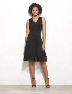 Scuba Lace-Trim Dress (original price, $48.00) available at #Dressbarn
