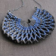 Smocked Fabric Necklace - textiles jewellery with a creative use of fabric manipulation techniques // tinctory via flickr