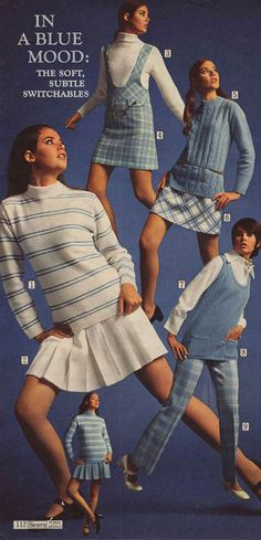 Fashion Teen Skirts from a 1969 catalog. Fashion 60s, 60s Fashion Trends, Fashion History, Teen Fashion, Vintage Fashion, Cheap Fashion, 1960s Dresses, Dresses For Teens, Teen Skirts