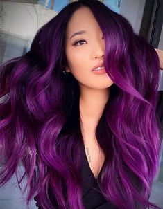 Romantic Purple Hair Color Ideas for Long Hair
