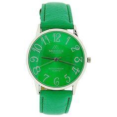 Mondex London Ladies Green Dial Silver Tone Case Green PU Strap Watch MDX08