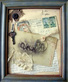 Collection of ephemera, collaged with lace and found objectsYou can find Shadow box and more on our website.Collection of ephemera, collaged with lace and found objects Shadow Box Kunst, Shadow Box Art, Vintage Crafts, Vintage Decor, Vintage Keys, Vintage Collage, Shadow Box Memory, Molduras Vintage, Arts And Crafts