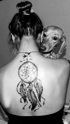 dreamcatcher tattoo on back