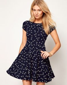 ASOS Skater Dress in Dragonfly Print at ASOS. Skater Dress, Dress Skirt, Dress Up, Lace Dress, Casual Dresses, Casual Outfits, Short Sleeve Dresses, Cool Summer Outfits, Summer Dresses
