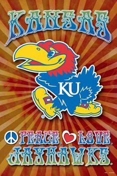 Kansas Jayhawks PEACE, LOVE, JAYHAWKS Team Spirit NCAA Logo Poster-Available at www.sportsposterw...