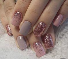 Nail Polish Designs, Nail Polish Colors, Nail Art Designs, Glitter Gel Nails, Rose Nails, Nail Art With Glitter, Pink Glitter, Acrylic Nails, Art 33
