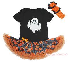 Halloween Ghost Face White Bodysuit Girls Pumpkin Baby Dress Outfit Set NB-18M