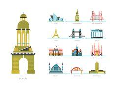 Little landmarks retro travel posters iconos, monumentos, pr Travel Icon, Travel Maps, Travel Posters, Travel Book Layout, Map Icons, City Icon, Travel Brochure, Packing List For Travel, Famous Landmarks
