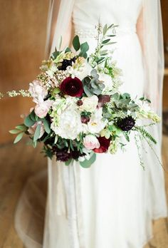 Fall Wedding Bouquet: Red and White Ranunculus, Peonies, Spray Roses, and Greenery