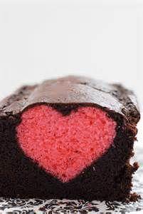 peekaboo cake - pink heart with chocolate