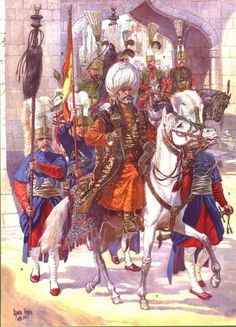 "Yedekchi - the servant of the Janissaries Agha entourage, performing a position equerry; Tugcu - bearer of a ""horse tail"" (Bunchuk); Banner of the Janissaries corps; Military Art, Military History, Turkish Soldiers, Ottoman Turks, Horse Tail, Armadura Medieval, Arabian Nights, Ottoman Empire, Fan Art"