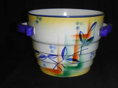 Antique 1910-20 Czech Hand Painted Colorful Ceramic Pottery Planter #11025
