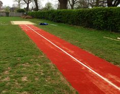 Long Jump Track with Sand Pit Construction in Slough, Berkshire - Funding information for this type of project can be found here http://www.softsurfaces.co.uk/blog/long-jump-run-up/long-jump-runway-free-facility-funding-qa at oour question and answer blog post.