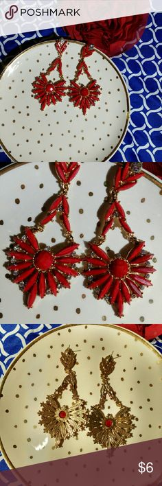 Elegant Red Earrings *Dress Up Your Christmas* *Long Dangling Red Earrings *Gold Plated Backing, Setting & Small Chains * Red Stunning Jewels *Faux Diamonds Jewelry Earrings