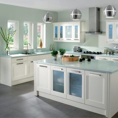 kitchen - love the duck egg blue bench tops (counters in usa) and i too, love this space!!