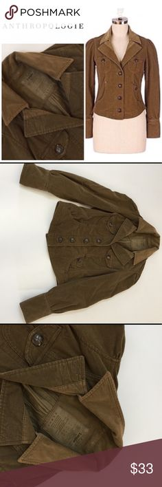 """Anthropologie Louie Corduroy 🧥 Jacket All measurements are taken laying flat and are estimated. Length 19"""" Sleeve 23"""" Waist 15 3/4"""". Anthropologie Jackets & Coats"""