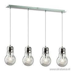 **Hanglamp Gloeilamp 4 lichts eettafel - www.straluma.nl