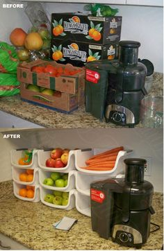 Simple organization is key to keeping in the juicing groove! (before and after)   oh this is perfect