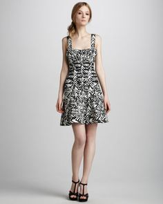 Graphic A-Line Bandage Dress by Herve Leger at Neiman Marcus.