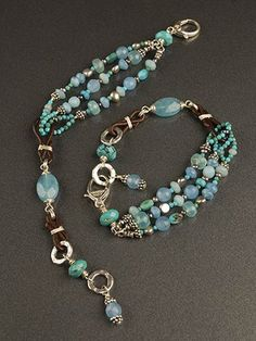 At one side, three strands of Turquoise, Peruvian Chalcedony, silver and peacock pearls, Amazonite, and Blue Quartz spread over your wrist, extending into an intricate handmade chain of Greek Leather and Sterling Silver suspending a single, milky blue quartz. The final touch offers two hammered silver clasp options for a one-size-fits-all style. $150